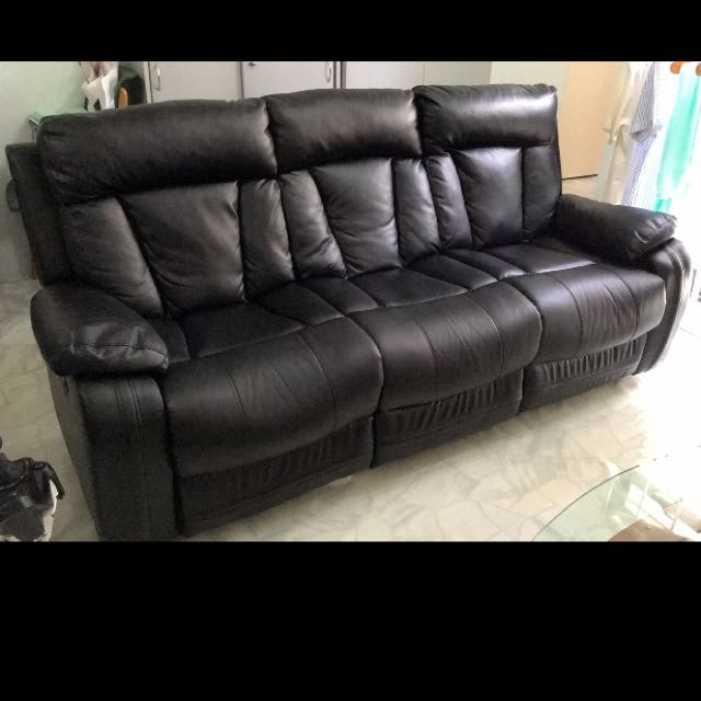 Black Recliner Sofa Reserved Furniture Sofas On Carousell