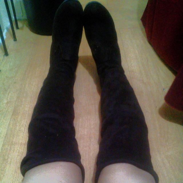 Brown Knee Length Suede Boots