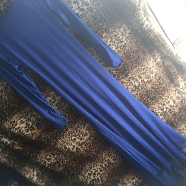 Cut Out Backless Blue Maxi Dress