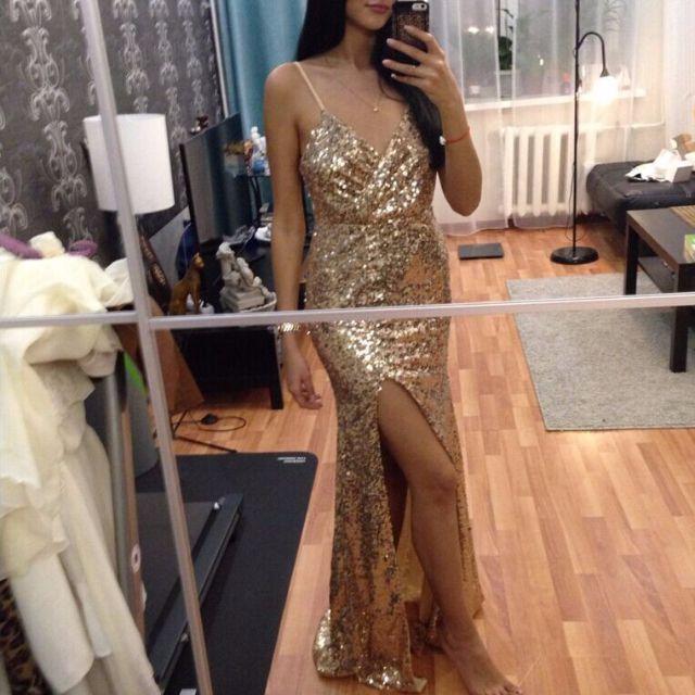 d50fbef1ee051 Formal Gold Sequin Maxi Dress Elegant Evening Paillette Robe Sexy ...