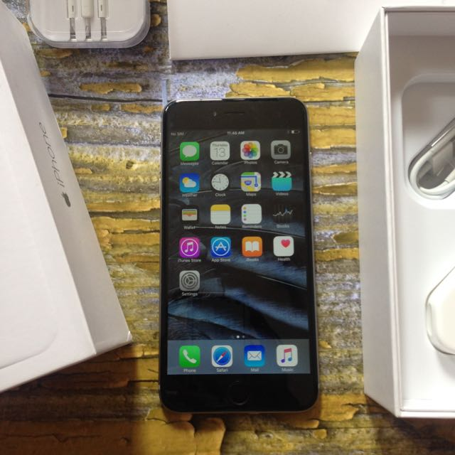 iPhone 6 Plus 64GB, Space Gray / Black. Fullset, Body Mulus