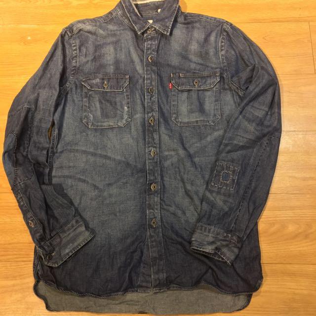 Levi's 牛仔襯衫 重磅丹寧 破壞縫補 19573-0000 M號