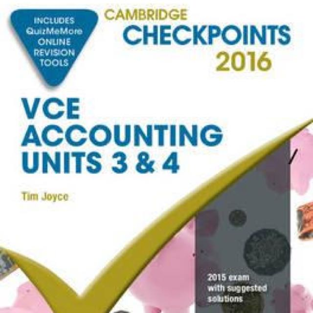 NEW Cambridge Checkpoints VCE Accounting  3&4 2016 and Quiz Me More By Tim