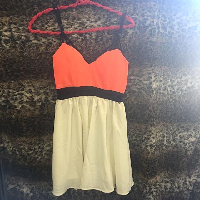 Orange & White Dress Plaited Cut Out Dress