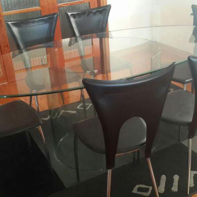 Oval Glass Table