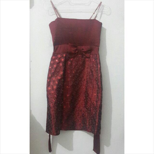 Party Dress Maroon - Baju Pesta
