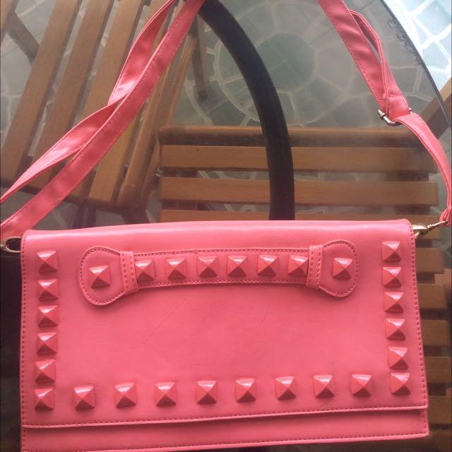 Pink Flat Shoulder Bag