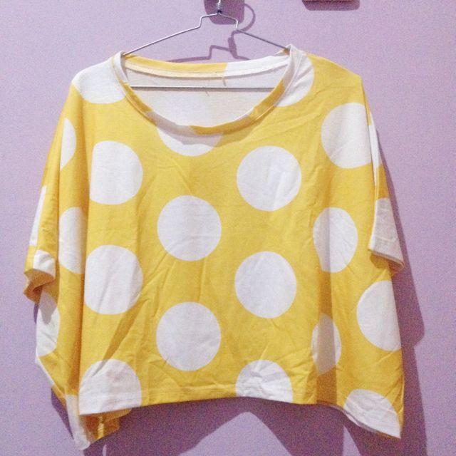 Polkadot Yellow n White Crop Tee