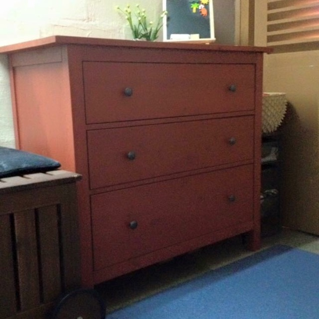 new product 23135 e68bc Preloved Ikea Red Hemnes Chest of 3 Drawer