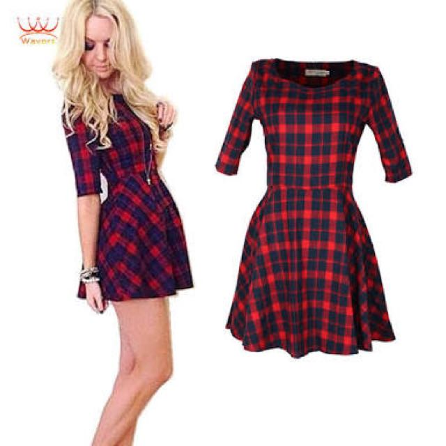 Red Checker Dress- Size S