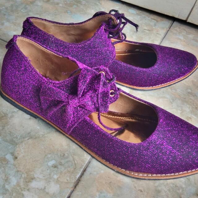 Sepatu pesta Ungu korea