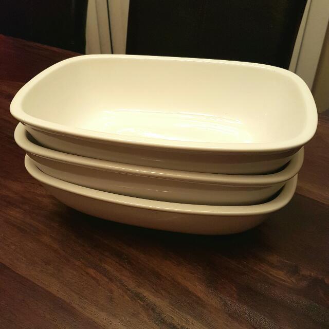 Set Of 3 White Ceramic Rectangular Serving Dishes
