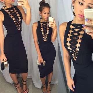 Back Zipper Sleeveless Deep V Metal Ring Black Slim Dress
