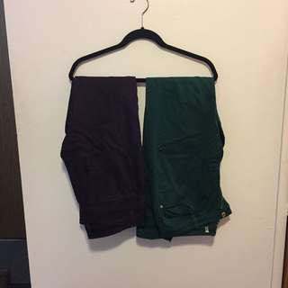 $5 Plum, Forest Green And Tan Pants/jeans