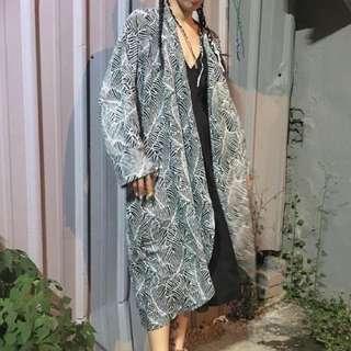 和服印花條紋外套