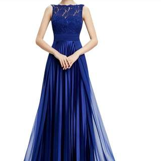 Royal Blue Long Gown - Sleeves Are Present Too