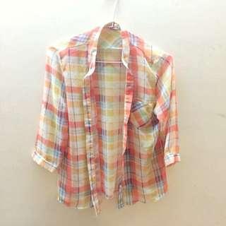 橘黃色格子襯衫
