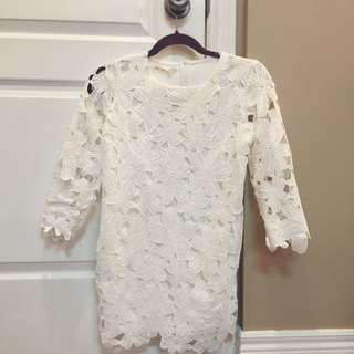 White Lace Mini Dress/top
