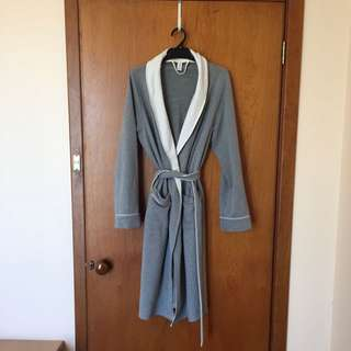 Grey Cotton Flannel Dressing Gown