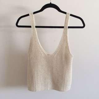 Subtitled Relaxed Knit Top Oatmeal Size 6
