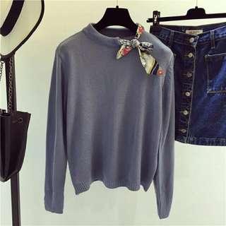 ㊣好正新款(現貨-淺藍/白)特殊領結毛衣