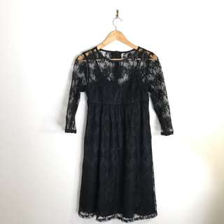 Hand Made Lace Dress With Black Slip Underlay