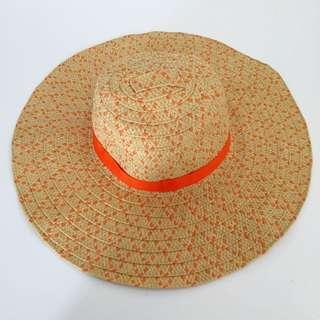 Orange Woven Beach Hat