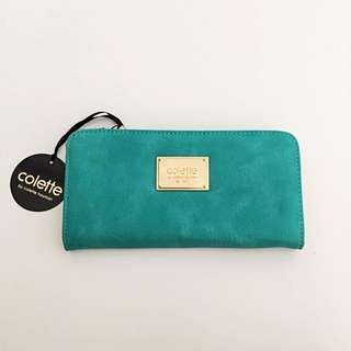 Turqouise/Gold Zip Wallet by Colette Hayman