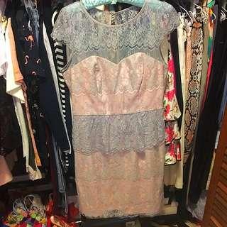 BNWOT Review Lace Peplum Dress Mauve Oyster Grey Pink Dress Size 12