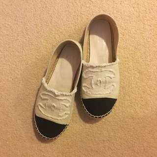 New Chanel Style Frayed Espadrilles Size 38