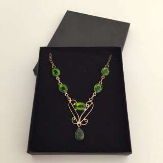 Metal And Green Stone Necklace