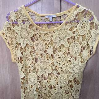 Yellow Zara Crochet top