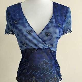 性感V領雙層網紗彈性上衣#1111女裝買太多