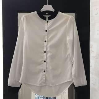 Work Blouse W/ Mao Collar