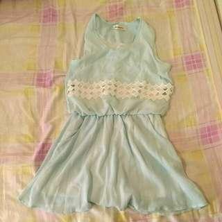 正韓薄荷綠粉綠洋裝