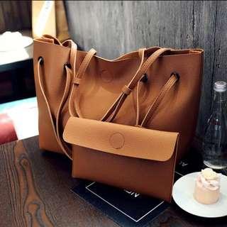 Brown Shopping Bag (big Bag) With Small Bag