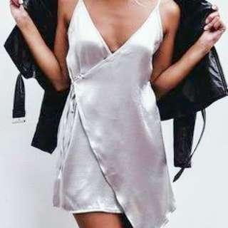Silk Wrap Dress (GOLD)