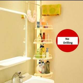 Bathroom & Kitchen Corner Shelf Upright Storage Rack