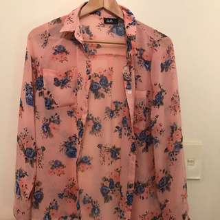Floral Pink Button Up Shirt