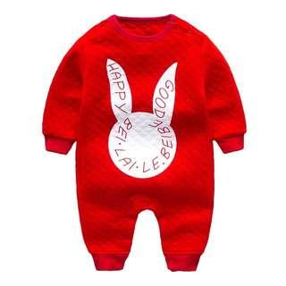 (現貨)嬰幼兒冬厚棉長袖連身衣/爬服-紅底白兔