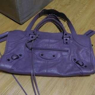 巴黎世家薰衣草紫機車包