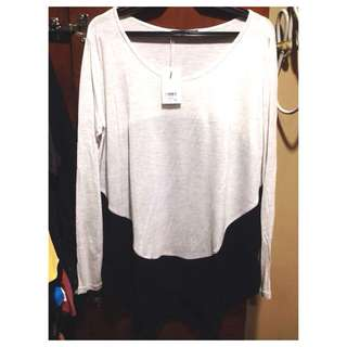 Long Sleeves Top (light Gray&black)