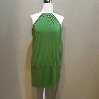 AUTHENTIC LAUNDRY BY SHELLI SEGAL GREEN COCKTAIL HALTER NECK DRESS
