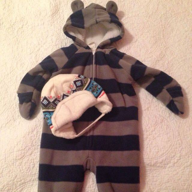 3-6 Month Fleece Suit And 6-12 Month Hat