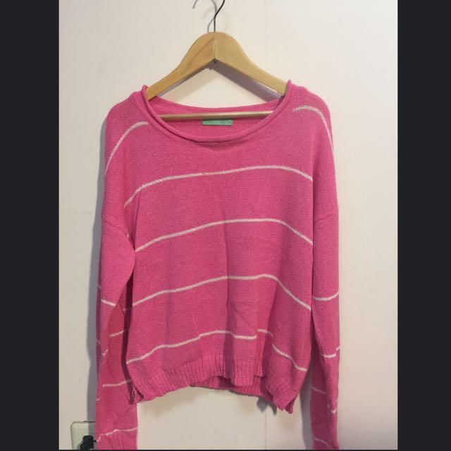 粉紅條紋針織薄長袖上衣-9.5成新