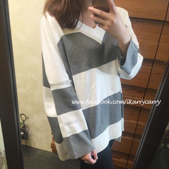 正韓🇰🇷歐美風格條紋針織上衣-灰