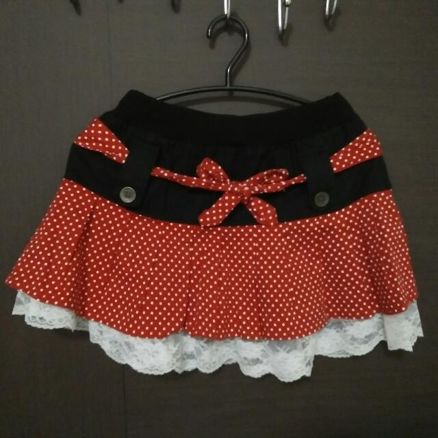 紅色點點短裙