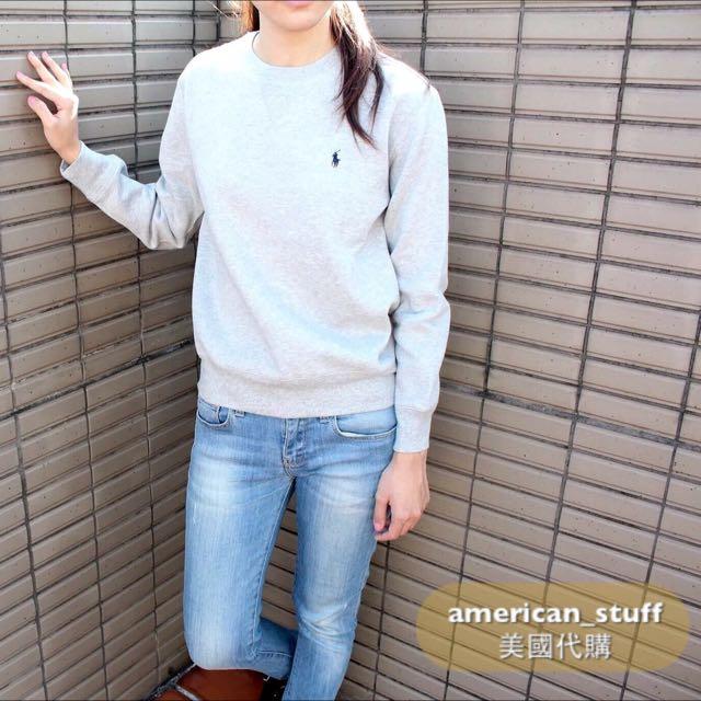 現貨特價Polo 大學T 女生尺寸 黑 灰 藍 內有鋪棉