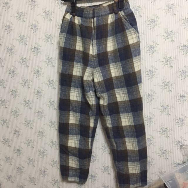 古著冬天暖暖格子褲