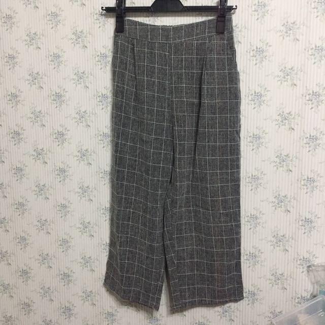 灰色格子寬褲